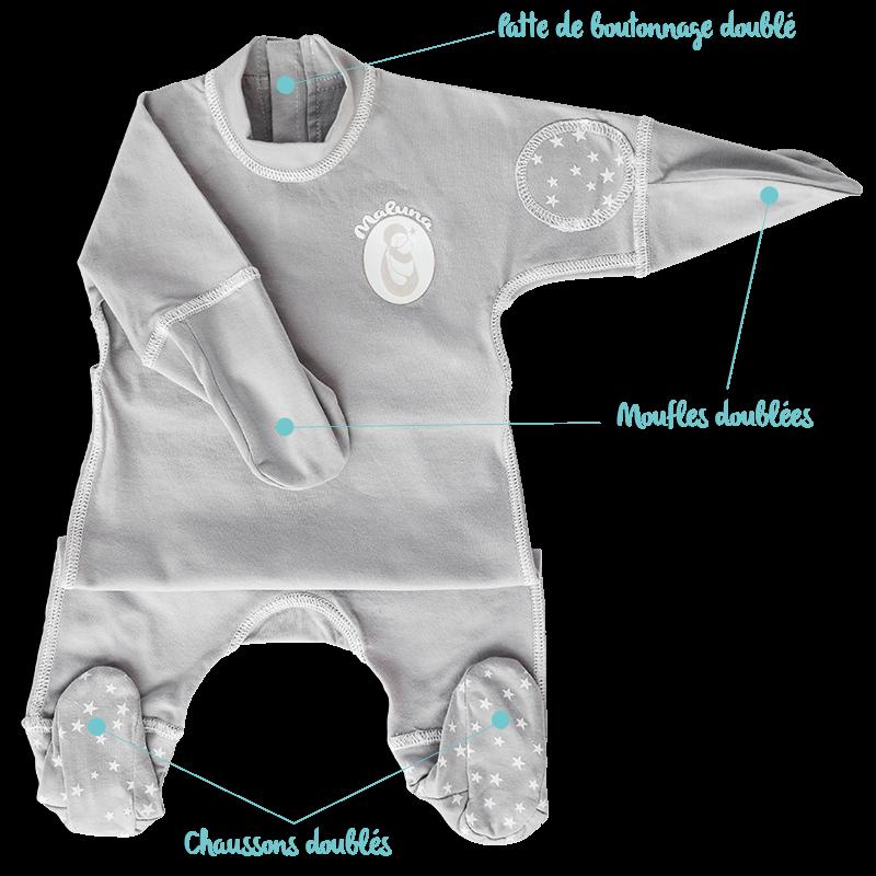 Pyjama anti-grattage pour soulager varicelle, eczema, allergies